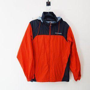 Columbia Men Windbreaker Jacket Red/ Grey Small